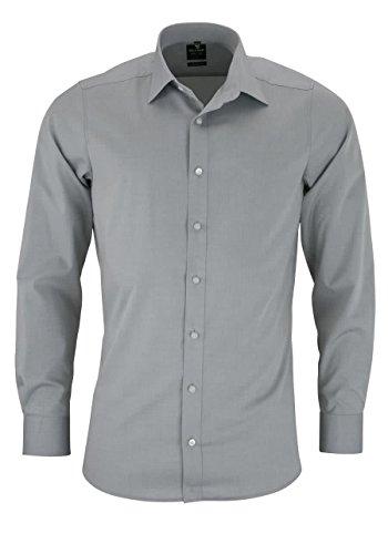 Olymp Herren Hemd Level 5 Body Fit Langarm, Silber, 39
