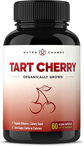 Organic Tart Cherry Concentrate - 1000mg Premium Uric Acid Cleanse Supplement - Cherry Juice Extract Powder Pills for Inflammation, Pain Relief, Muscle Recovery & Sleep - 60 Vegan Capsules
