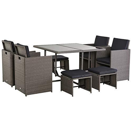 Outsunny Set Mobili da Giardino Esterno Tavolo con 4 Sedie 4 Poggiapiedi 9pz Rattan Grigio