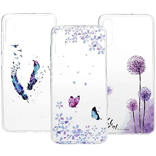 Funda para iPhone 13 Pro, 3D Pintura transparente suave TPU Gel Case Ultra-Thin Slim Fit Transparente Absorción de Golpes Flexible Anti-Arañazos Cubierta Protectora Piel Plumas Mariposa Diente de León