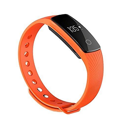 Makibes ID107 Braccialetto Intelligente Smart Wristband, Cardiofre Quenzimetro BT4,0 Smartband Pulse Sports Fitness, Compatibile con Android/iOS-Arancione