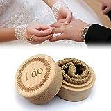 WuLi77 Caja de anillos de boda personalizada con paño de lino, caja...