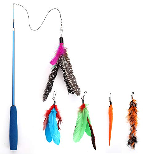 KITTAIL Cat Feather Toys Teaser 3 Pack Colorful Exercise with Bells /& 25 Long Wand for Cat and Kitten