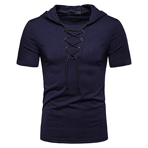 Verano hombres Must-Have – Camiseta sudadera con capucha de manga corta sudadera sudadera sudadera sudadera sudadera sudadera sudadera sudadera sudadera sudadera de manga corta (18-24 años), azul marino, XL