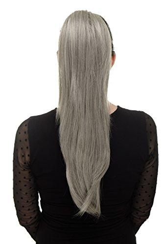 WIG ME UP - Extension volumineuse cheveux lisses tombants queue de cheval mini pince-papillon élastique env. 60 cm mélange gris-noir WK06-51