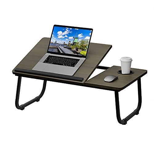 SURFLINE Laptop Tisch für Bett Laptop Tisch Bett Tisch mit Klappbaren Beinen,Becherhalter und Verstellbarer Tischplatte, Für Notebook-Ständer Frühstücksbett Tablett Picknicktisch