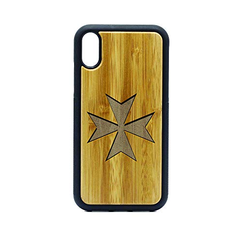 Maltese Cross Silhouette - iPhone Xr Case - Bamboo Premium Slim & Lightweight Traveler Wooden Protective Phone Case – Unique, Stylish & Eco-Friendly - Designed for iPhone Xr