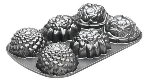 NordicWare 56337 Mini-Kuchenform, Aluminiumguss, Blumenmuster
