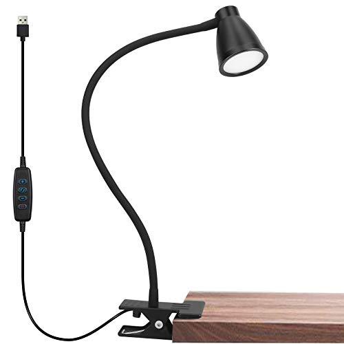 Semlos 14 LED Klemmleuchte Leselampe - 3-Farbtemperatur, 5 Helligkeit dimmbar, Auto-Off und Speicherfunktion, Augenschutz Schreibtischlampe, 360° Flexibel Schwanenhals USB Nachtlicht (No Adapter)