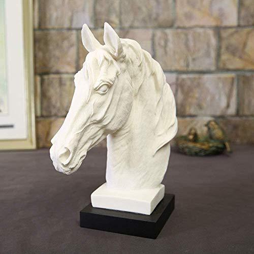WZH Escultura Artesanal Escultura Animal Cabeza de Caballo Decoración de Resina de Piedra Arenisca Blanca Decoración del hogar Decoración de Arte 23 * 12 * 33Cm