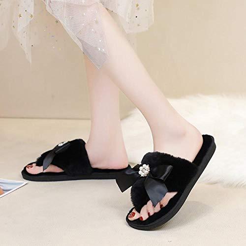 SWX-FlipFlop Zapatos de algodón de Diamantes de imitación otoño e Invierno de algodón de Color sólido Zapatillas de Arco de Remolque Zapatos de algodón de Diamantes de imitación Negro 38/39