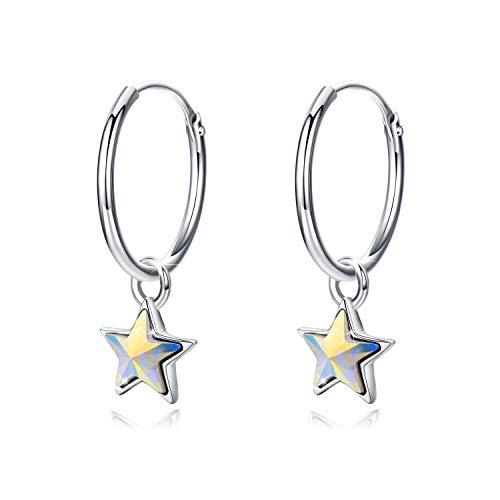 Pendientes de aro de plata de ley 925 con diseño de estrella, pendientes de aro para niñas y mujeres