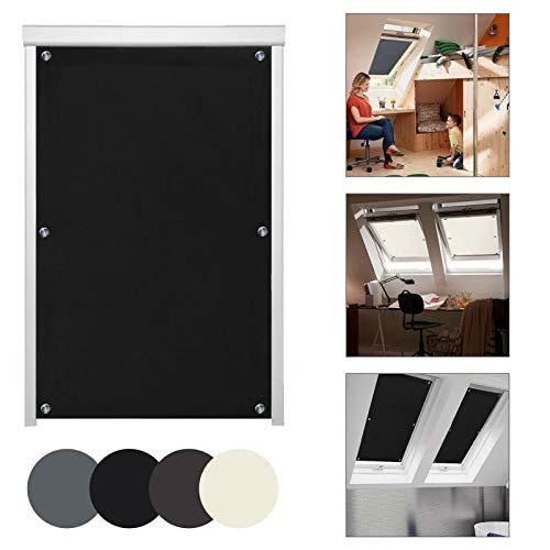 KINLO Thermo Sonnenschutz Dachfensterrollo für Dachfenster M06 und 306 ohne Bohren Verdunklungsrollo Rollo UV Schutz mit Saugnäpfe, Schwarz 60 x 93 cm