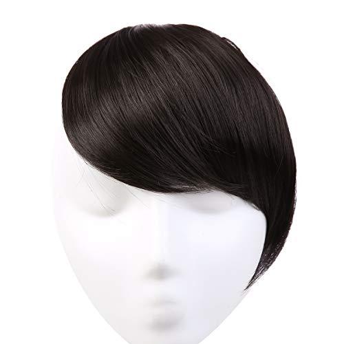 SARLA Side Bangs Black Clip in Synthetic Hair Bangs Natural Fake Hair Bangs Straight Fringe Hair Extensions for Women B2&4
