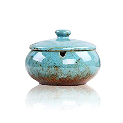 Lependor Ceramic Ashtray with Lids, Windproof, Cigarette Ashtray for Indoor or Outdoor Use?Ash Holder for Smokers,Desktop Smoking Ash Tray for Home Office Decoration - Blue