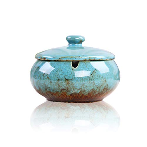 Lependor Ceramic Ashtray with Lids, Windproof, Cigarette Ashtray for Indoor or Outdoor Use,Ash Holder for Smokers,Desktop Smoking Ash Tray for Home Office Decoration - Blue