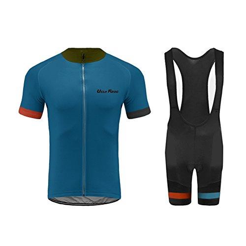 Uglyfrog Bike Wear Herren Radtrikot Set, Atmungsaktiv Quick-Dry Kurzarm Radsport-Shirt + Gel Gepolsterte Shorts