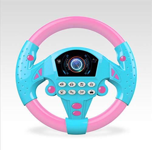 FunAloe Controlador de conducción simulado, volante de copilot juguete para asiento de coche, juguete educativo para niños, juguete de sonido pequeño para volante, regalo con música y luz