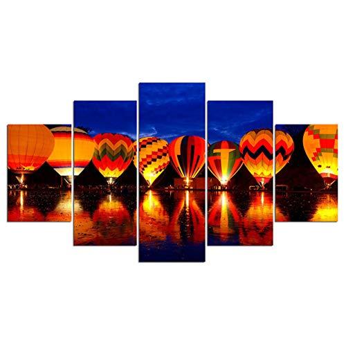 ZAINALIA Cartel Marco de Pared Cartel Moderno Decoración para el hogar 5 Paneles Globo aerostático Vuelo Sala de Estar Lona HD Impresión Pintura Imagen Modular,Sin Marco 40x60 40x80 40x100cm
