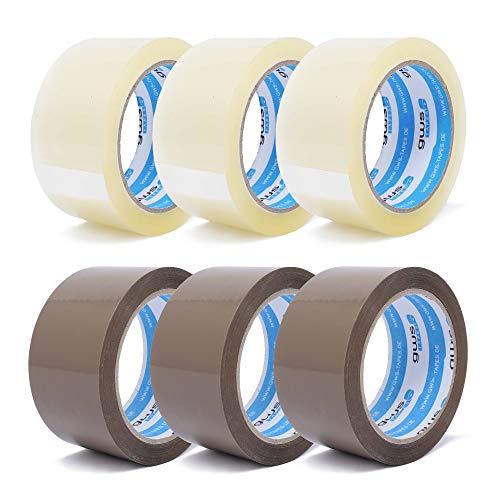 gws Paket-Klebeband PP leise   geräuscharm abrollend   Packband mit hoher Klebkraft in Profi-Qualität   Länge: 66 m - Breite: 50 mm – Dicke: 50 μm (6, je 3 Rollen transparent/braun)
