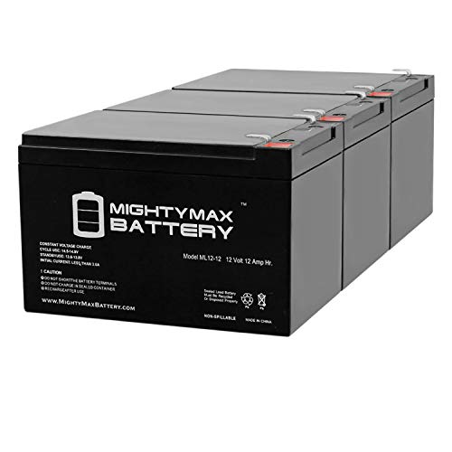Mighty Max Battery 12V 12Ah F2 Razor Battery fits MX500 MX650, W15128190003-3 Pack Brand Product