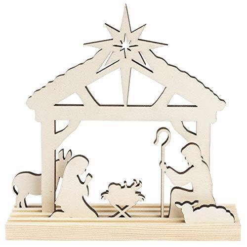3-D Landschaft zum Stecken, Weihnachtskrippe, Podest & versch. Holzelemente, 7-teilig