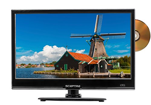 """Sceptre E165BD-SS 16"""" 720p LED HDTV with Build in DVD Player, DC 12V Car Adapter Included, TV-DVD Combo, Fine Black (2017)"""