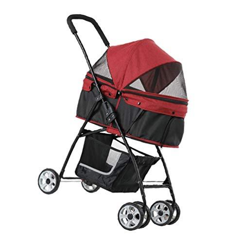 Kinderwagen voor honden, opvouwbaar, voor reizen buitenshuis 2-way opening Pet Cat 4 rollen Jogger voor de veiligheid windscherm