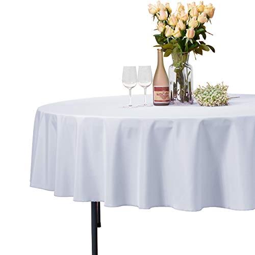 VEEYOO - Tovaglia Rotonda o Quadrata in Diverse Misure, Colore a Tinta Unita, Ottima per apparecchiare la tavola per Matrimoni, ristoranti, Eventi, Tessuto, White, Rotondo-229 cm