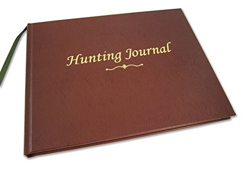 "BookFactory Hunting Journal/Hunter's Log Book/Notebook - 96 Pages, Brown Bonded Leather Cover, Smyth Sewn Hardbound, 8 7/8"" x 7"" (JOU-096-CCR-XT-HUNT-XTT44)"