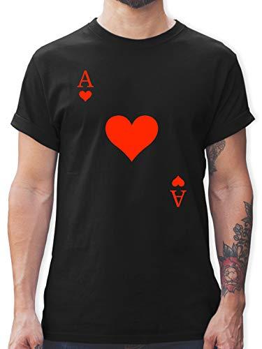 Karneval & Fasching - Herz Ass Kartenspiel Karneval Kostüm - XL - Schwarz - kartenspiel Ass - L190 - Tshirt Herren und Männer T-Shirts