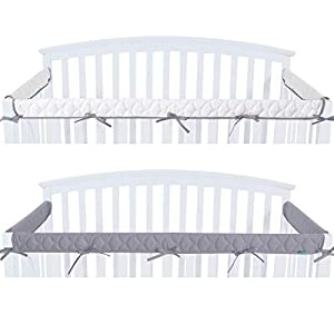 Quilted Crib Rail Cover Protector Safe Teething Guard Wrap for Standard Crib Rails, 3 – Piece, Fit Side and Front Rails, Grey/White, Reversible, Safe and Secure Crib Rail Cover.