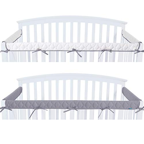 Quilted Crib Rail Cover Protector Safe Teething Guard Wrap for Standard Crib Rails, 3 - Piece, Fit Side and Front Rails, Grey/White, Reversible, Safe and Secure Crib Rail Cover.