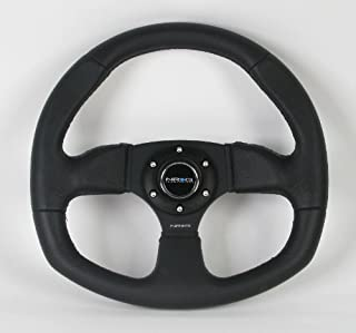NRG Steering Wheel - 09 (Flat Bottom) - 320mm (12.60 inches) - Black Leather/Oval - Part # ST-009R