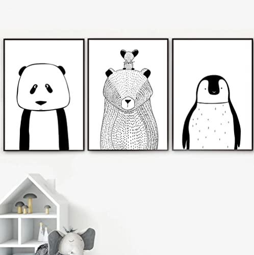 Panel pinturas decoración Pingüino oso panda Impresión en Lienzo Cuadros Decorativos para...