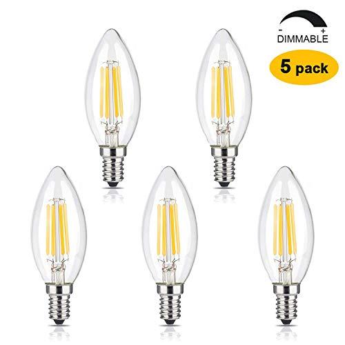 Brimax E14 Dimmbare Kerzenlampe LED 6W = Kerze 60W,2700 K Warmweiß 600LM,kleine Schraubsockel,Kronleuchterlampen,Retro Kandelaber-Glühlampe,Kronleuchter-Ersatz, Schreibtischlampe,5 Stück