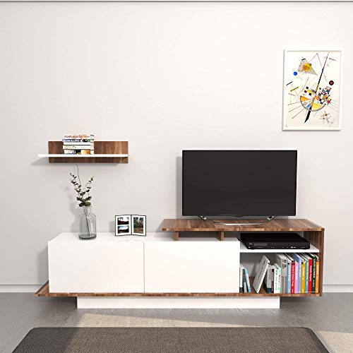 Draco Bianco Bianco//Beige Porta Tv THETA DESIGN by Homemania 186 x 56 x 7.5 cm