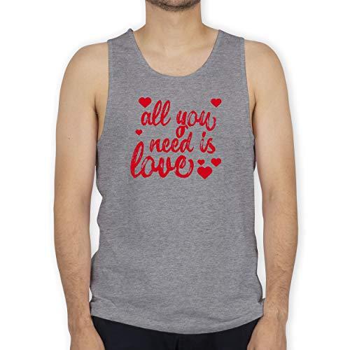 Shirtracer Valentinstag - All You Need is Love - M - Grau meliert - Tank Top - BCTM072 - Tanktop Herren und Tank-Top Männer
