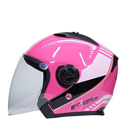 GHF Erwachsener Motorrad Helm Männer und Frauen Lokomotive Halber Helm Halb über Sonnencreme Schutzhelm,Pink