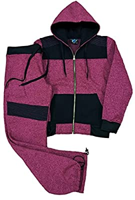 Royal Threads Canada Women Classic Two Tone Sweatsuit Fleece Set Outfit Hoodie Activewear Sweatpant and Sweat Jacket