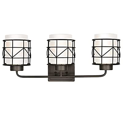 3-Light Bathroom Vanity Light Fixture, Modern Bath Lighting with White Frosted Glass Shade, Industrial Metal Cage Wall Mount Lighting Sconce for Bathroom, Bedroom
