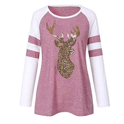 Best Review Of FengGa Festival Christmas Womens Reindeer Blouses T-Shirt Xmas Classic Bling Long Sle...