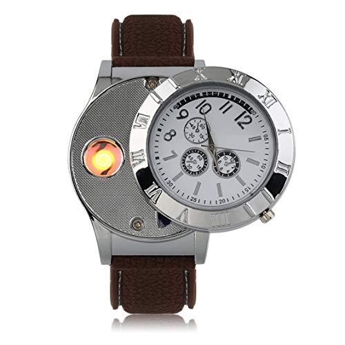 Reloj de Cuarzo Encendedor electrónico Ambiental Profesional Reloj Recargable más Ligero de USB con luz indicadora LED