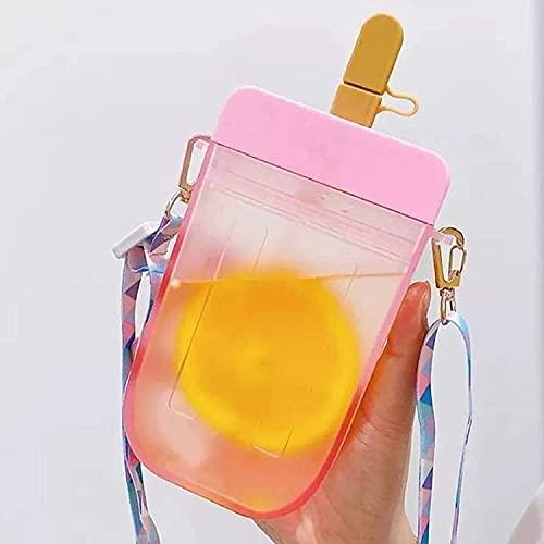 ANSET Borraccia con cannuccia bambini, tazza per ghiaccioli creativi per bambina, brocca per acqua trasparente senza BPA, tracolla regolabile, per viaggi sportivi in campeggio all'aperto (Rosa)