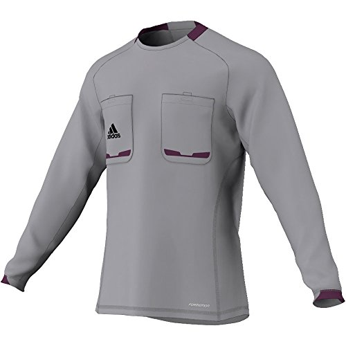 adidas Referee 12 - Camiseta de Manga Larga para árbitro Gris Aluminum/Purple Beauty F10 Talla:Medium