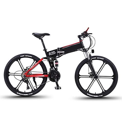sunyu Bicicleta de Asistencia Eléctrica de 26 Pulgadas, Bicicleta de Montaña para Adultos con Motor de 350W/36V/10AH Pliegue Velocidad Variable Bicicleta asistida Bicicleta de montañared