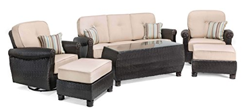 La-Z-Boy Outdoor Breckenridge 6 Piece Resin Wicker Patio Furniture Conversation Set (Natural Tan): Two Swivel Rockers, Sofa, Coffee Table, and Two Ottomans With All Weather Sunbrella Cushions