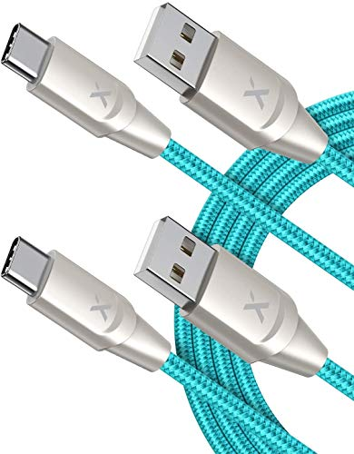 Xcentz USB Type C Cable, [2 Pack 6ft] USB C Cable, USB C to USB A Nylon Braided Fast Charging Cable for Samsung Galaxy S10/S9/S8/Note 8/9/10, Pixel, LG V20/G5/G6, iPad Pro 2018 and More, Blue