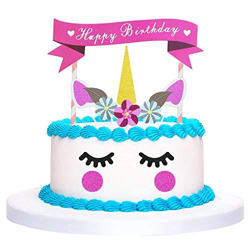 TANCUDER - Decoración para tartas, diseño de unicornio con orejas y pestañas, decoración para tartas de cumpleaños, decoración para fiestas de bienvenida, bodas y cumpleaños infantiles
