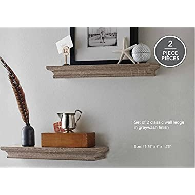 LightStan Floating Shelves Wall Mount, Modern Art Decorative Display Ledges for Living Room/Bedroom/Bathroom/Farmhouse - 4 Inches Deep Storage, Set of 2, Wood Grain